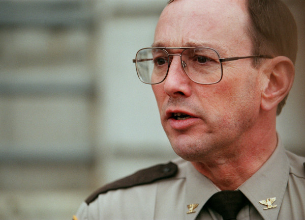 Chief Deputy Glenn Ross of the Penobscot County Sheriff's Department speaks to reporters in 2001.