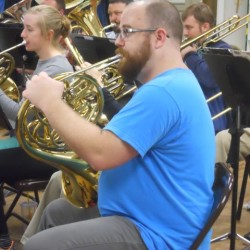 Bangor Band horn players practice for their next concert