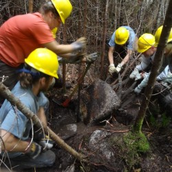 MATC Maine Trail Crew members dig in at Rainbow Lake.