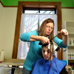 A head lice infestation among Mary Collar's family last year prompted her to start a business with relatives in Waterville to treat people with the annoying pests. With Collar is her granddaughter, Emma Copeland.