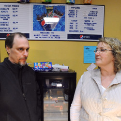 Maine Coast Mall Cinema owners Randy Walls and Leona Gagnon say they could not afford new digital projection equipment and decided to close the Ellsworth cinema after the shows on Monday, Jan. 19.