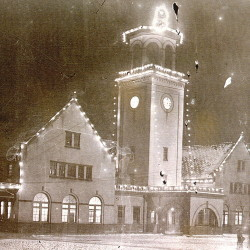 Union Station lit up for one of the Bangor winter carnivals around 1914. The station was one of Bangor's great achievements of the city's train era.
