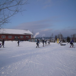 Perched high on a hill overlooking Madawaska and the surrounding valley, the Four Seasons Lodge, constructed in 2007 with donated materials and volunteer labor, provides a backdrop for a game of ski soccer on Jan. 11.