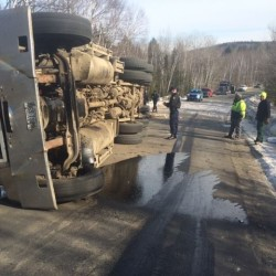Chester man escapes injury in logging truck accident that shuts down Route 2A