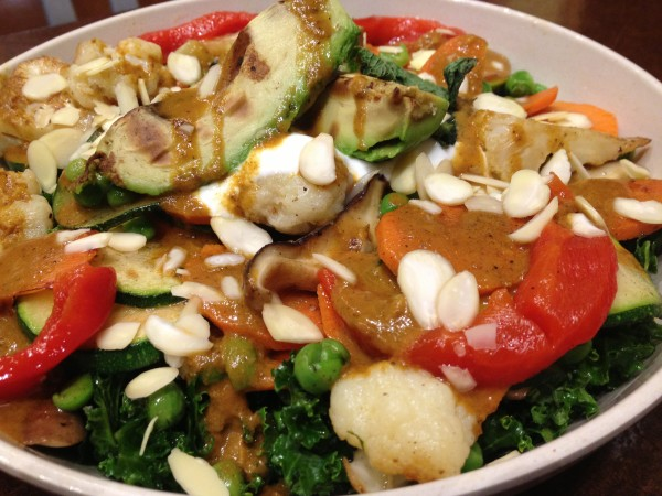 The curry and grilled avocado salad at B.good in Portland is a warm and comforting hot salad.