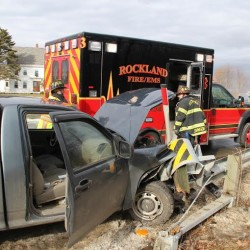 Distracted driver gets into one-vehicle crash in Waldo