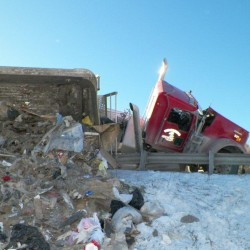 Tractor-Trailer Tips Over on Verona Island