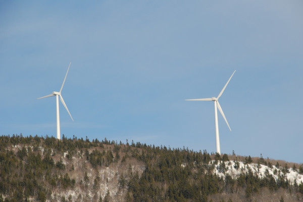 Two wind mills spin slowly in a light southwesterly breeze atop Mars Hill in Mars Hill in this 2009 BDN file photo.