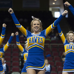 Hermon High School performs during the East Maine Class B regional cheerleading competition Saturday at the Cross Insurance Center in Bangor.