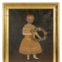Circa 1835 folk art full length portrait of a young girl, one of many important works of art to be sold at Thomaston Place Auction Galleries Winter Fine Art & Antiques Auction on February 7 & 8