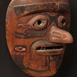 Circa 1900 rare Northwest Native American carved and polychrome mask, one of over 600 lots of important Native American & Tribal items to be sold at Thomaston Place Auction Galleries on Friday, February 6.