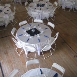 Wedding reception set up in the assembly hall on the 2nd floor.