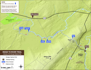 Courtesy of the Georges River Land Trust. Map of the Ridge to River Trail as of January 2015.