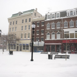 A quiet downtown Bangor in the storm.