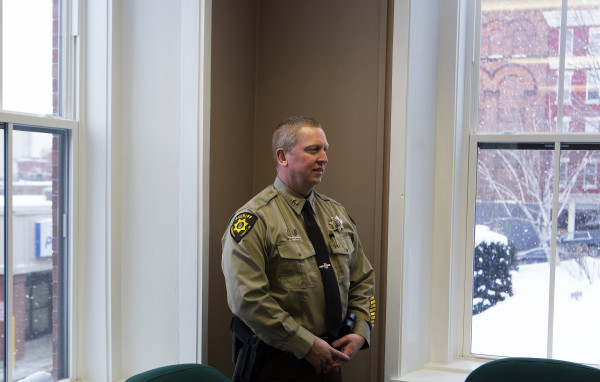 Sheriff Troy Morton poses for a portrait at the Penobscot County Sheriff's office in Bangor on Feb. 12.