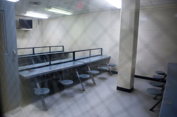 A visitation room is seen at the Penobscot County Jail in Bangor on Feb. 12.