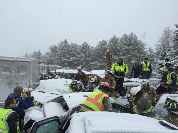 Photos from state police show a crash Wednesday morning troopers say may involve more than 40 vehicles.