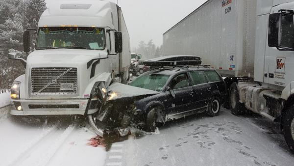 Peggy Leonard's vehicle was wedged between 2 semis in the 40-vehicle pileup on I-95 Wednesday morning.