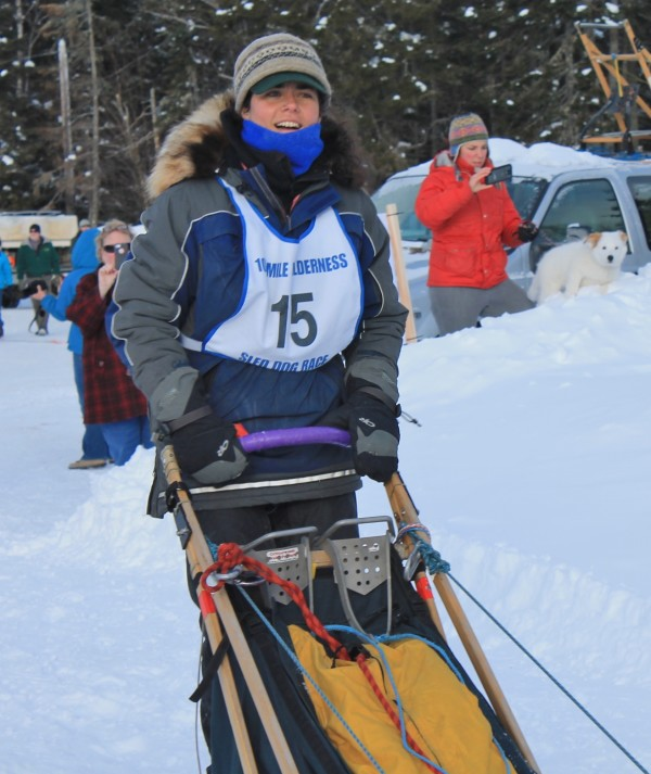 Sally Manikian of Shelburne, New Hampshire, waits for the signal to take off in the 60-mile event in Saturday's Wilderness Sled Dog Race in Greenville.