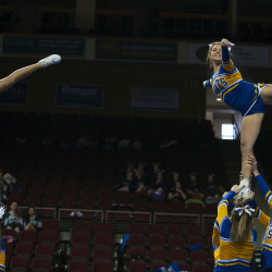 Hermon High School performs during the Eastern Maine Class B regional cheerleading competition Saturday at the Cross Insurance Center in Bangor. Hermon went on to win the title.