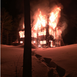A home at 190 Hedge Bridge Road in Woolwich was completely destroyed by fire Tuesday night.
