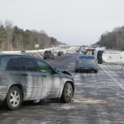 Slick roads keep state troopers busy; truck jackknifes on turnpike