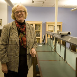 Elisabeth Doucett, director of Curtis Memorial Library in Brunswick, shows off the library's new Genealogy Room, which provides several resources to help patrons research their ancestry.