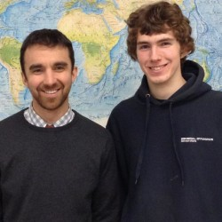 Morse High School student Balt von Huene, right, with teacher Eric Varney, achieved the only perfect score in the world last spring on the Advanced Placement Environmental Science exam.