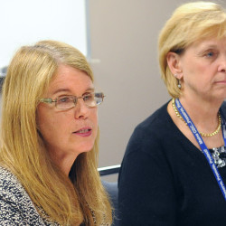 Maine Department of Health and Human Services Commissioner Mary Mayhew (left) and Dr. Sheila Pinette speak at a press conference in Bangor in this October 2014 file photo. Mayhew announced Tuesday that Pinette will become the chief health officer for DHHS.