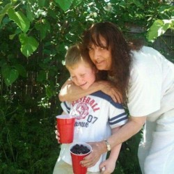 Linda Polkey, shown here with her nephew, Andrew, died suddenly last month from breast cancer. Her relatives are trying to raise $165,000 to keep her North Yarmouth business and Falmouth home.
