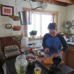 In this recent photo, Beth Haines, part of the family at Fisher Farm in Winterport, prepares a hot lunch in the kitchen of the cabin that she and Dennis Fisher built for themselves and their daughter.