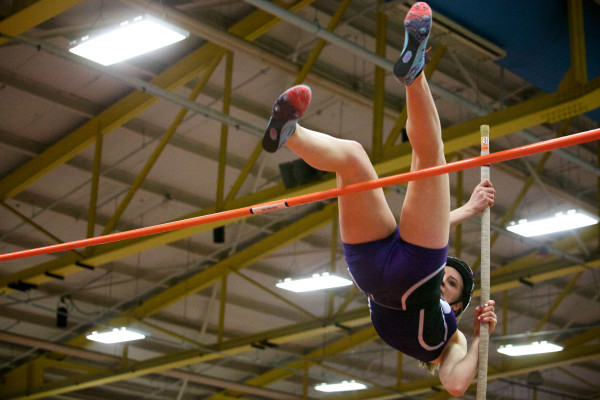 Sarah Shoulta of Waterville High School tries to clear the bar in the pole vault at the Class B indoor track state meet in Lewiston on Monday. Shoulta placed first in the event.