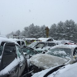 Interstate 95 northbound between Newport and Bangor was shut down Wednesday morning because of a pileup involving 75 vehicles.
