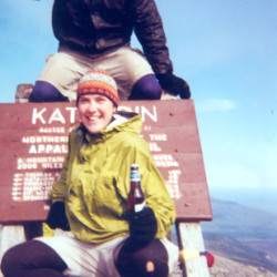 Jenn Brooks of Maine and John Sonnenberg of New York celebrate atop Katahdin after finishing the entire Appalachian Trail together in 2001. The two met near the southern end of the 2,200-mile trail, fell in love, and finished the trail together. John moved to Maine to be with Jenn after finishing the trail, and they married in 2005.