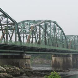 The Frank J. Wood Bridge connects Brunswick and Topsham.
