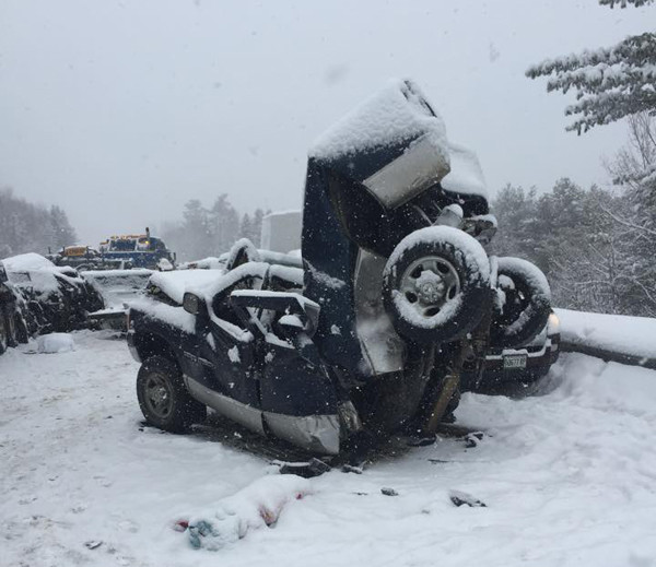 This photo from the pileup on I-95 in Etna came courtesy of Bouchard & Sons Towing.