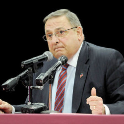"Gov. Paul LePage talks during a ""town hall"" meeting at Edward Little High School in Auburn on Wednesday."