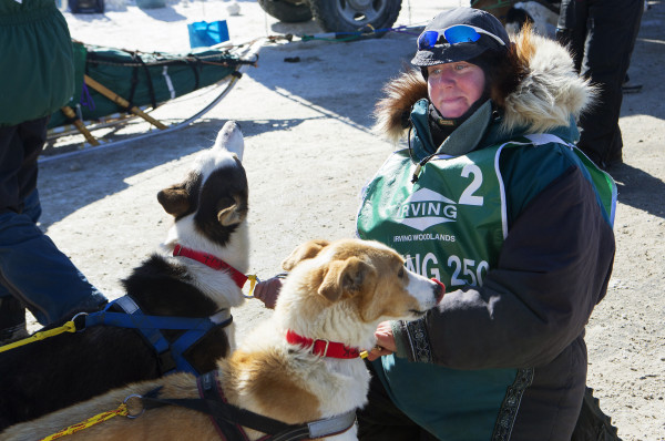 Ashley Patterson takes a moment with her two lead dogs before the start of the 250-mile Can-Am Crown International dog sled race starting in Fort Kent Saturday.