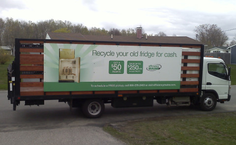An Efficiency Maine truck picks up old, extra refrigerators and freezers for recycling in 2012.