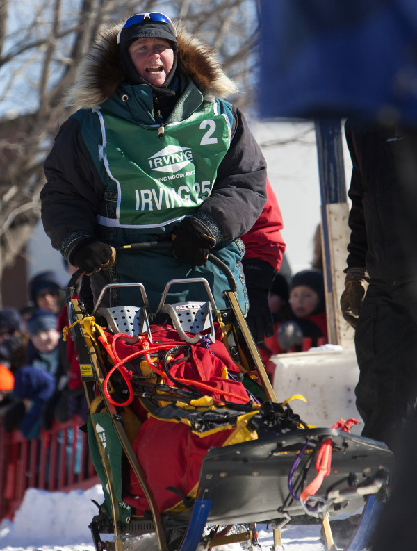 Ashley Patterson takes off at the start of the 250-mile Can-Am Crown International dog sled race in Fort Kent Saturday.