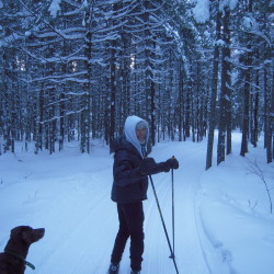 Francine Boody of New Sweden recently enjoys an afternoon ski at the Aroostook National Wildlife Refuge in Limestone.