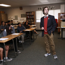 Luke Holm teaches an eighth-grade English language arts class at the College Connections Academy in San Jose, Calif., on Thursday, Feb. 5, 2015.