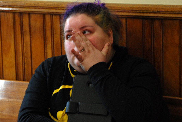Cricket Griffith, sister of murder suspect Reginald Dobbins, discusses her brother at Houlton District Court on Monday, March 9, 2015.