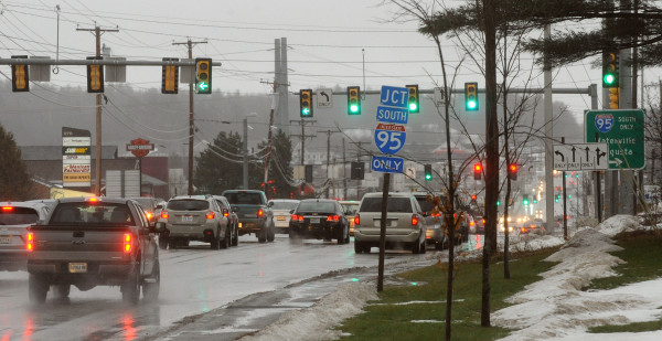 Traffic moves along Stillwater Avenue near the Interstate 95 southbound ramp in Bangor in this December 2014 file photo.