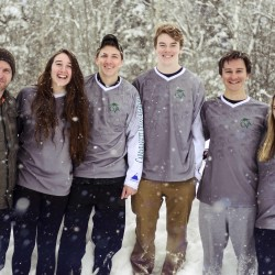 Carrabassett Valley Academy Snowboard Program Director Michael Mallon (left) and CVA student-athletes (from left) Kristen Venuto, Devryn Valley, Liam Moffatt, Max Yudajev and Katie Wilson are at the World Junior Snowboard Championships this week in Yabuli, China.