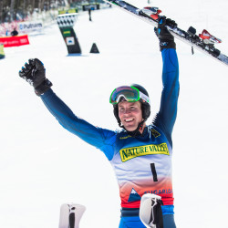 David Chodounsky of Crested Butte, Colorado, celebrates after winning the slalom at the Nature Valley U.S. Alpine Championships on Sunday at Sugarloaf.