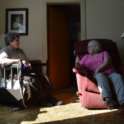 Wendy Sabattis, left, and Susan McPherson chat at McPherson's home in Westfield recently. Sabattis is a dispatcher with the Aroostook County Sheriff's Office, and McPherson participates in the law enforcement agency's Friendly Caller Program. They met for the first time in March.