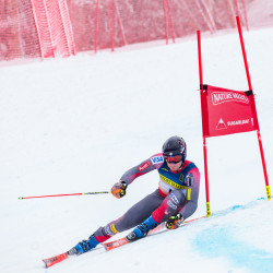 Tim Jitloff makes up for lost time during his second run to claim the win in the U.S. Alpine Championships men's giant slalom at Sugarloaf Mountain on Friday. It was his third straight U.S. Alpine Championship giant slalom title, and his fifth national giant slalom title overall.