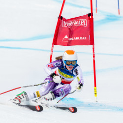 Nina O'Brien won the women's giant slalom in the U.S. Alpine Championships Thursday at Sugarloaf.