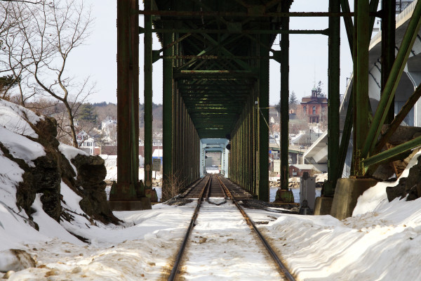 A view of the Carlton Bridge from the Woolwich side can be seen March 11. The span, built in 1927 to carry railroad and motor cars over the Kennebec River, has only carried trains since the Sagadahoc Bridge was opened in 2000.